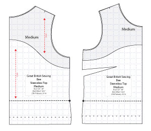 Diagram of Free PDF Sewing Pattern of the Sleeveless Top