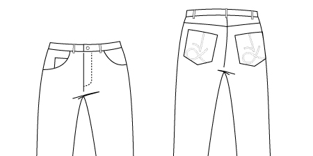 Technical Drawing of Authentic Jeans Sewing Pattern 948